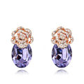 Pretty Swarovskii Crystal Purple Rhinestone Flower Stud Earring Women Fashion Jewelry