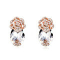 Pretty Swarovskii Crystal White Rhinestone Flower Stud Earring Women Fashion Jewelry