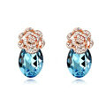 Swarovskii Crystal Blue Rhinestone Flower Stud Earring Women Fashion Jewelry