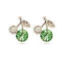 Top Quality Green Swarovskii Crystal AAA Zircon Cherry Stud Earring Female Fashion Jewelry