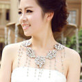 Unique Luxury Flower Crystal Tassel Wedding Bridal Shoulder Chain Strap Shawl Necklace jewelry
