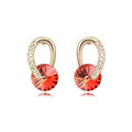 Unique Red Swarovskii Crystal Dangle Stud Earring for Woman Gold Plated Fashion Jewelry