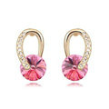 Unique Rose Swarovskii Crystal Dangle Stud Earring for Woman Gold Plated Fashion Jewelry