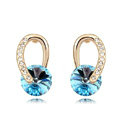 Unique Swarovskii Crystal Blue Rhinestone Dangle Stud Earring for Woman Fashion Jewelry