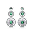 Vintage White Gold Plated Zircon Green Rhinestone Drop Stud Earrings Fashion for Women Banquet