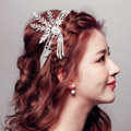 Luxury Crystal Pearl Bridal Hairwear Jewelry Wedding Dress Bride Headband Hair Ribbon Accessories