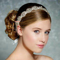 Luxury Rhinestone Lace Hairwear Ribbon Wedding Bride Headband Bridal Hair Accessories