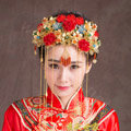 Luxury Vintage Agate Beads Flower Tassel Wedding Headband Bridal Cheongsam Hair Accessories