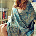Classic Extra large Jacquard Tassels Cape Floral Print Shawl National Style Warm Long Scarf - Blue