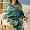 Hot sell Extra large Jacquard Tassels Cape Floral Print Stripes Shawl National Style Warm Long Scarf - Blue
