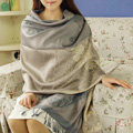 Hot sell Extra large Jacquard Tassels Cape Floral Print Stripes Shawl National Style Warm Long Scarf - Gray