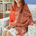New Extra large Jacquard Tassels Cape Floral Print Stripes Shawl National Style Warm Long Scarf - Orange