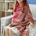New Extra large Jacquard Tassels Cape Floral Print Stripes Shawl National Style Warm Long Scarf - Pink