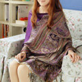 New Extra large Jacquard Tassels Cape Floral Print Stripes Shawl National Style Warm Long Scarf - Purple