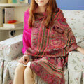 New Extra large Jacquard Tassels Cape Floral Print Stripes Shawl National Style Warm Long Scarf - Rose