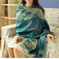 Pretty Autumn and Winter Cape Tassels Floral Print Shawl National Style Warm Long Scarf - Blue