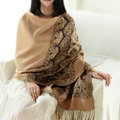 Pretty Extra large Jacquard Tassels Cape Floral Print Shawl National Style Warm Long Scarf - Camel