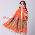 Pretty Extra large Jacquard Tassels Cape Floral Print Shawl National Style Warm Long Scarf - Orange