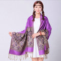 Pretty Extra large Jacquard Tassels Cape Floral Print Shawl National Style Warm Long Scarf - Purple