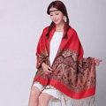 Pretty Extra large Jacquard Tassels Cape Floral Print Shawl National Style Warm Long Scarf - Red
