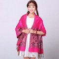 Pretty Extra large Jacquard Tassels Cape Floral Print Shawl National Style Warm Long Scarf - Rose