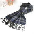 Classic Plaid Long Wool Scarf Man Winter Thicken Business Casual Cashmere Tassels Muffler - Blue