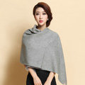 Classic Solid Color Long Wool Shawls Berber Fleece Scarf Women Winter Thicken Tassels Cape - Gray