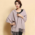 Classic Solid Color Long Wool Shawls Berber Fleece Scarf Women Winter Thicken Tassels Cape - Nude