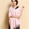 Classic Solid Color Long Wool Shawls Berber Fleece Scarf Women Winter Thicken Tassels Cape - Pink