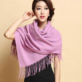 Classic Solid Color Long Wool Shawls Berber Fleece Scarf Women Winter Thicken Tassels Cape - Purple