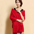 Classic Solid Color Long Wool Shawls Berber Fleece Scarf Women Winter Thicken Tassels Cape - Red