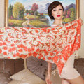 Economic Butterfly Flower Printing Tassels Wool Scarf Shawls Women Long Warm Pashmina Cape - Orange