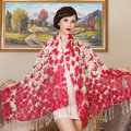 Economic Butterfly Flower Printing Tassels Wool Scarf Shawls Women Long Warm Pashmina Cape - Red