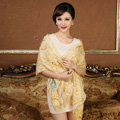 Economic Crown Flower Printing Wool Scarf Shawls Women Winter Long Warm Pashmina Cape - Yellow