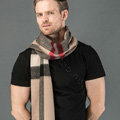Fashion England Lattice Long Wool Scarf Man Winter Thicken Cashmere Tassels Muffler - Camel+Black