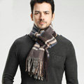Fashion England Lattice Long Wool Scarf Man Winter Thicken Cashmere Tassels Muffler - Coffee