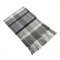 Fashion England Lattice Long Wool Scarf Man Winter Thicken Cashmere Tassels Muffler - Gray
