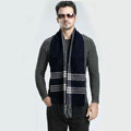 Fashion England Lattice Long Wool Scarf Man Winter Thicken Cashmere Tassels Muffler - Navy Blue