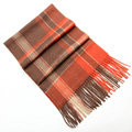 Fashion England Lattice Long Wool Scarf Man Winter Thicken Cashmere Tassels Muffler - Orange