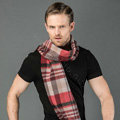Fashion England Lattice Long Wool Scarf Man Winter Thicken Cashmere Tassels Muffler - Red+Camel