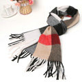 Fashion Plaid Long Wool Scarf Man Winter Thicken Business Casual Cashmere Tassels Muffler - Black Camel