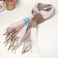 Fashion Plaid Long Wool Scarf Man Winter Thicken Business Casual Cashmere Tassels Muffler - Brown