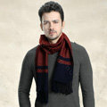 Fashion Retro Britain Lattice Wool Scarf Man Winter Thicken Cashmere Tassels Muffler - Red+Navy