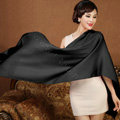 High Quality Solid Color Wool Scarf Shawls Women Winter Long Warm Pashmina Cape - Black