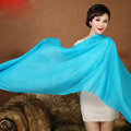High Quality Solid Color Wool Scarf Shawls Women Winter Long Warm Pashmina Cape - Blue