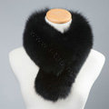 Luxury Fox Fur Scarf Women Winter Warm Neck Wrap Short Fox Fur Collar Clip - Black