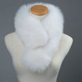 Luxury Fox Fur Scarf Women Winter Warm Neck Wrap Short Fox Fur Collar Clip - White