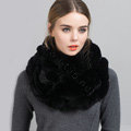 Luxury Rex Rabbit Fur Scarf Women Winter Warm Neck Wrap Knitted Fur Collar Muffler - Black