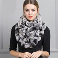 Luxury Rex Rabbit Fur Scarf Women Winter Warm Neck Wrap Knitted Fur Collar Muffler - Gray