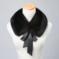 Luxury Short Fox Fur Scarf Women Winter Warm Neck Wrap Fox Fur Collar Ribbon - Black